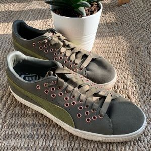 Puma Green and Rose Gold Grommet Detail Sn…